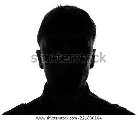 Unknown male person silhouette.Back light studio shot isolated on white - stock photo