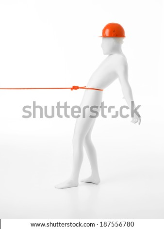 unknown man dressed in white suit with orange rope tied around his waist, being pulled by somebody - stock photo