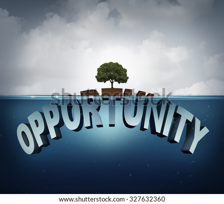 Unknown opportunity concept as text hidden underwater with a tree growing on a small  piece above water as a metaphor for success and motivation for hidden opportunities in business and life. - stock photo