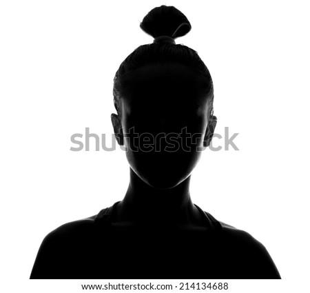 Unknown person. Female person silhouette.Back lit studio isolated - stock photo