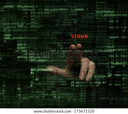 Unknown person hand clicking on virus word on monitor with binary codes on background - stock photo