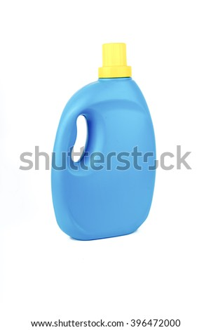 Unlabeled blue plastic container for packaging detergent, liquid laundry and softener isolated on white