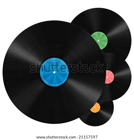 Unlabeled vinyl records illustration with colorful label - stock photo