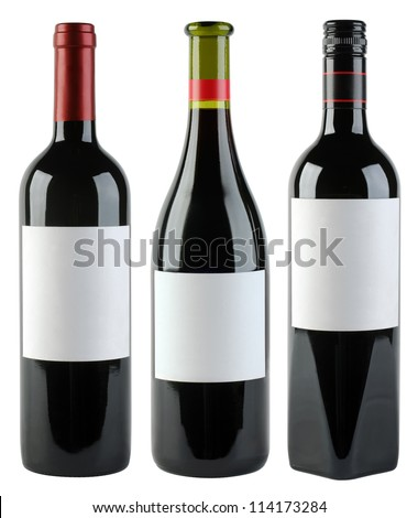 Unlabeled Wine Bottles Isolated With Clipping Path - stock photo