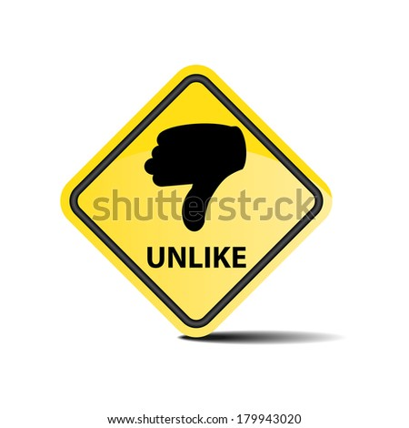 Unlike with hand yellow sign on white background - jpeg. - stock photo