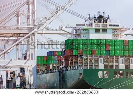 Unloading Cargo Ship in Port. International Shipping Destinations Theme.  - stock photo