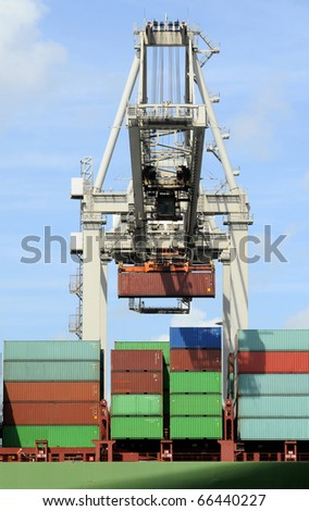 Unloading containers - stock photo