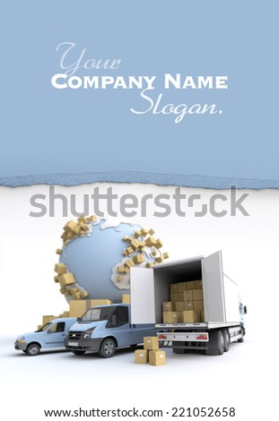 Unloading truck in an international transportation context. The Earth texture comes from the Nasa free of use images - stock photo