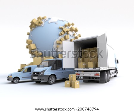 Unloading truck in an international transportation context. The map texture comes from the Nasa free of use images