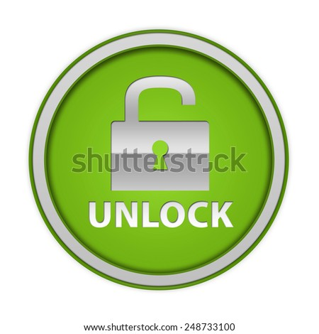 Unlock circular icon on white background