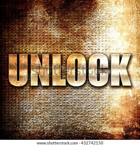 unlock, 3D rendering, metal text on rust background - stock photo