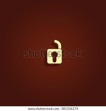 Unlock icon. Retro style unlock illustration. - stock photo