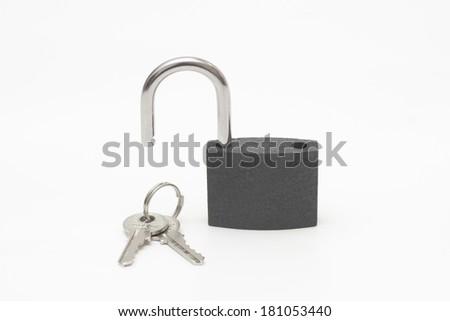 Unlock Padlock & Keys isolated on white Background - stock photo
