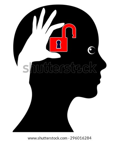 Unlock your Brain. Concept sign of a woman who can make more of  her brain - stock photo