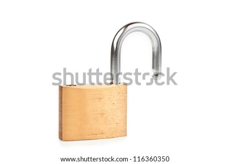 Unlocked padlock against white background