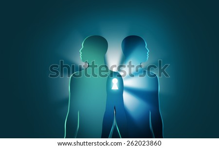 Unlocking the Mysteries of Life and Death concept.Two human figures join together with bright rays and keyhole between them. Symbolic drawing that can mean many things like near-death or reincarnation - stock photo