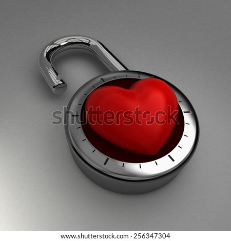Unlocking your heart to love. A combination lock is unlocked with a velvet heart as its focus, indicating an openness to love.