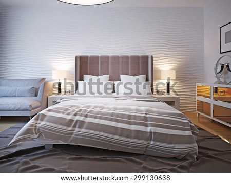 Unmade bed with large headboard. Two bedside table with lamps on both sides of the bed with a large headboard. The wavy wall behind and a big ceiling lamp. 3D render