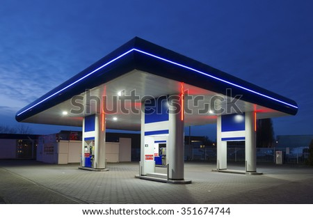 unmanned gas station at night in the netherlands - stock photo