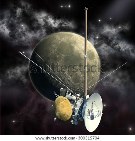 Unmanned spacecraft similar with the Cassini orbiter passing the Moon. Elements of this image furnished by NASA. - stock photo