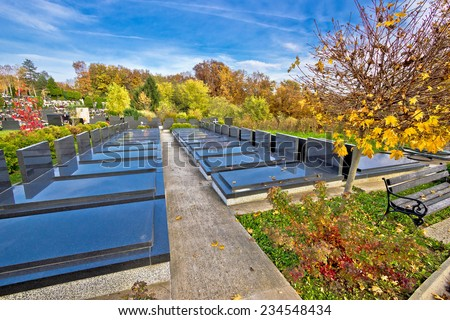 Unmarked and unnamed graves on graveyard, Mirogoj cemetary of Zagreb - stock photo