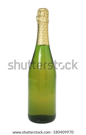 unopened bottle of champagne on white  - stock photo