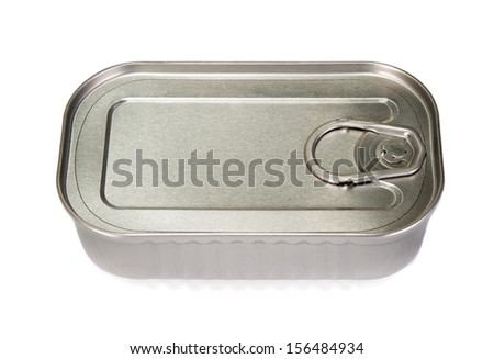 Unopened tin of fish on a white background