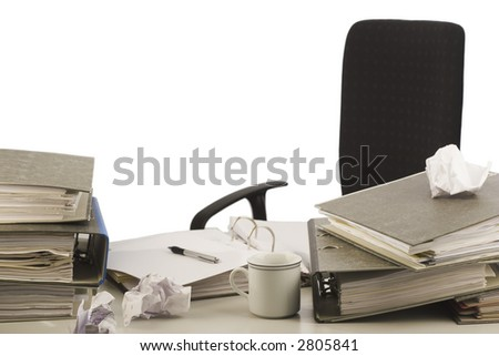 Unorganized desktop isolated on white - stock photo