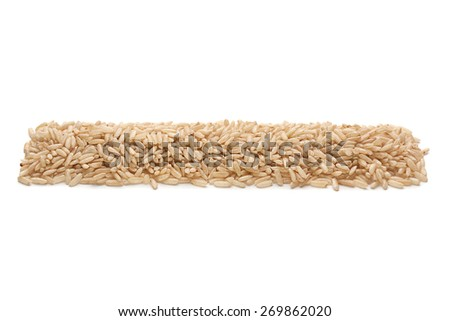 Unpolished rice seed closeup isolated on white