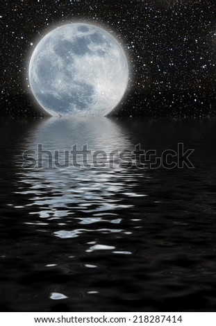 unreal moon over a great starfield, reflected on the sea - stock photo