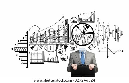 Unrecognizable businessman with business sketches instead of head on white background - stock photo