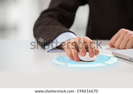 Unrecognizable man using new technologies - stock photo