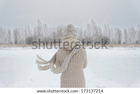 Unrecognizable woman stands back in the woods in winter - stock photo