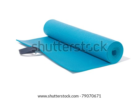 unroll yoga mat on white - stock photo