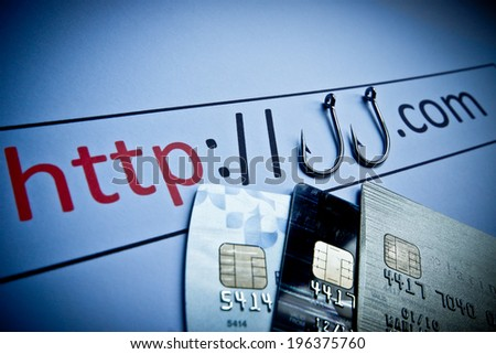 unsecured http connection with credit cards - phishing website concept - stock photo