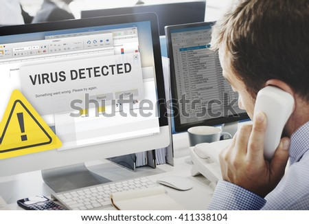 Unsecured Virus Detected Hack Unsafe Concept - stock photo