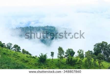 Unseen a big mountain and sea mist in Doi Chang, Chiang Rai, Thailand. - stock photo