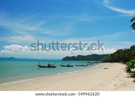 Unseen paradise island with clear blue sea, sky and withe sand beach Koh Tao Thailand for holiday season in summer