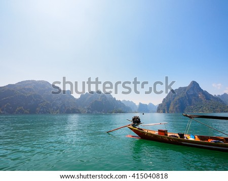 Unseen Thailand Nature Mountains River and Sky in Ratchaprapha Dam at Khao Sok National Park, Surat Thani Province, Thailand