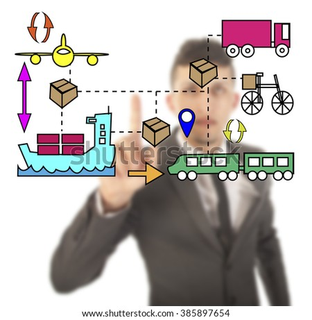 Unsharp businessman with logistic movements illustration - stock photo