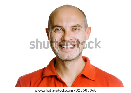 Unshaven smiling man. Isolated on white. Studio - stock photo