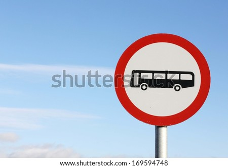 Unsuitable for buses road sign. - stock photo