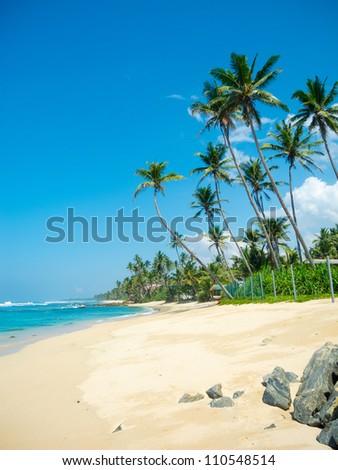 Untouched tropical beach in Sri Lanka - stock photo