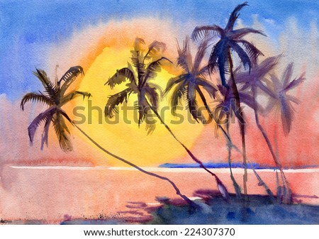 Untouched tropical beach. Sunset. Watercolor. - stock photo