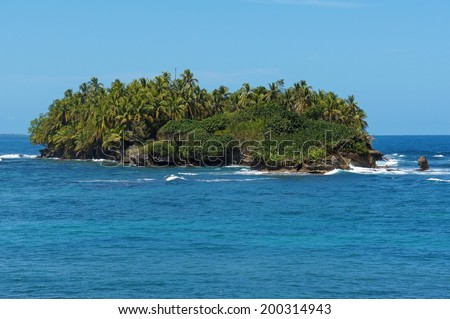 Untouched tropical island with lush vegetation in the Caribbean sea, Bocas del Toro archipelago, Panama