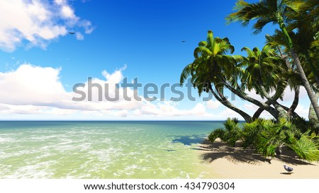 Untouched tropical sand beach blue sea and blue sky 3D illustration