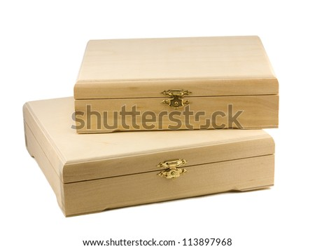 Untreated wooden box for decoupage - stock photo