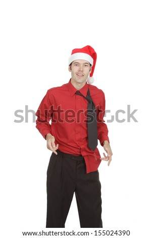 Untucked and disheveled this office worker at an office holiday party looks like the punch was spiked! - stock photo