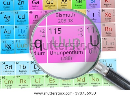 Ununpentium symbol uup element periodic table stock photo royalty ununpentium symbol uup element of the periodic table zoomed with magnifying glass urtaz Images