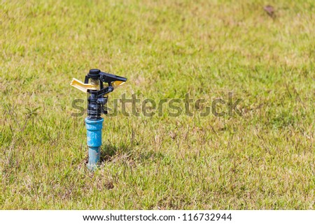 Unused automatic sprinkler head of watering system on the lawn - stock photo